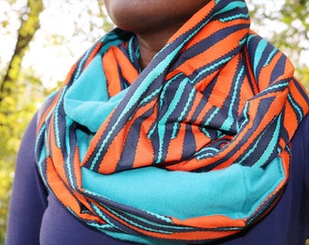 African Print and Plaid Infinity Scarf // Blue and Orange Circle Scarf // Flannel Scarf // African Wax Print Scarf