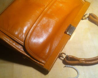 handbag bestcondition, 70s, cognac,
