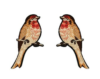 Sparrows on Branch Detailed Bird Embroidery Patches Embroidered DIY Sew on Iron On Patch