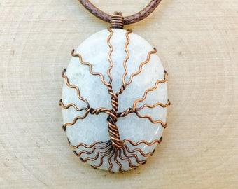 Tree of Life Pendant, Moonstone Necklace, Crystal Necklace, Spiritual Jewelry, Moonstone Pendant, Healing Crystal, Tree of Life, Gemstone