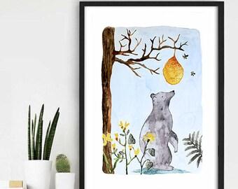 Watercolor Illustration, Bear Watercolor, Children Wall Decor, Aquarel Bear, Bear Children Illustration, Woodland Art, Bear Wall Print