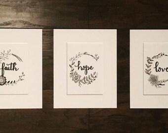 Faith, Hope, Love Floral Wreath Original Hand-Lettered Art