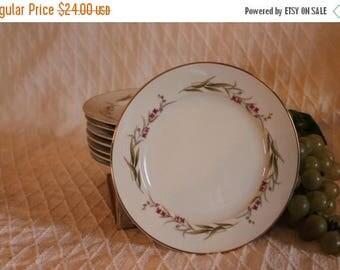 "SALE Set of 8 Prestige Fine China 6.5"" Bread or Dessert Plates - Cherry Blossom Pattern"