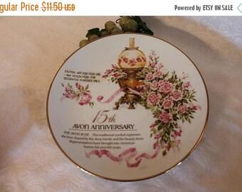 SALE Avon Representative 15th Anniversary Award Plate adorned with the Avon Rose