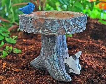 Digging Dog Birdbath - miniature enchanted fairy garden