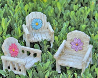 Daisy Chairs - 3 colors - miniature enchanted fairy garden