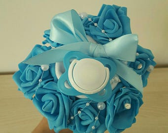 Mini bouquet of baby boy Bodysuit and nipple