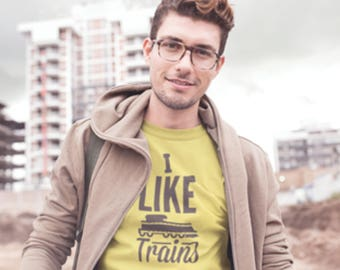 "T-Shirt with ""I like Trains"" print, Train Logo & ""I Like Trains"" Printed T-Shirt, Train Spotters ""I LIke Trains"" Printed T-Shirt, Train Logo"