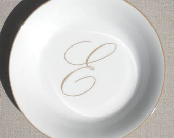 "Plate porcelain, painted by hand, letter ""E"""