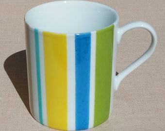 Porcelain mug hand painted summer stripes