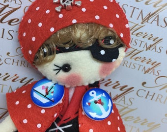 Pirate felt Rag doll ragdoll  doll  Ooak cloth doll collectible handmade by Cobesco's Creations