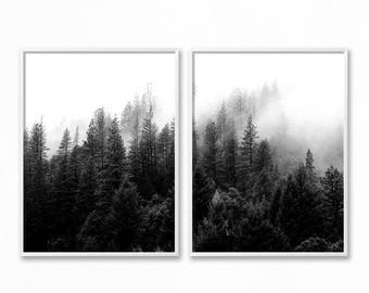 Black and White Forest, 2 Piece Forest Printable, Forest Art, Minimalist Landscape, Trees, Fog, Nature Photography Prints Set, Top Selling