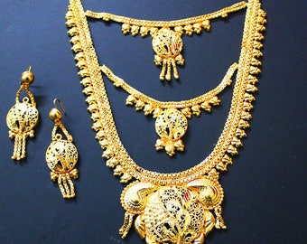 Gold Necklace Jewelry Set Wedding Traditional Earrings Queen Necklace Bridal Ethnic Wear Antique Jewellery Necklace Women Gift Necklace