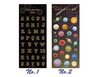 Creative Sticker, Universe, Alphabet, Planet, Stationery