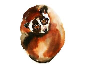 Slow Lori Hand Painted Watercolor Clipart Little Lemur Lori Digital Print Files Clip Art Instant Download Images Pictures Art Commercial Use