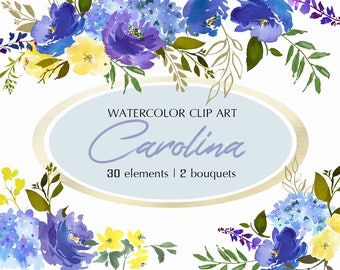 Blue Volet Yellow Watercolor Floral Design Collection  Digital Clipart PNG Cobalt Indigo Flowers Leaves Wedding Invitation DIY Clip Art Set