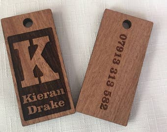 Personalised Wooden Keychain - Key Ring - Book Bag Name Tag - Gift - Custom Keychain - Back To School - Lable