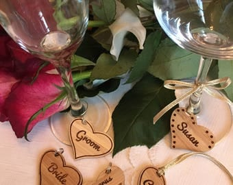 Personalised Wooden Hearts - Wine Glass Charms - Hen do - Party Favours - Wine Tasting - Wedding Table Names -  Keepsake - Key Ring