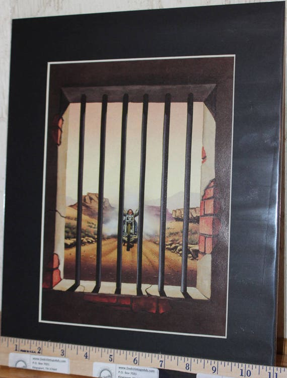 """David Mann """"Close Call'' 11'' x 14'' Matted Motorcycle Biker Art #8809ezrdm"""