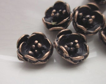 12 Vintage Castings, Oxidized Copper, 10mm Cupped Flower with Beaded Center