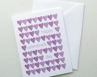 Valentines Day Greeting Card - Purple Watercolor Hearts - Happy Valentine's Day Blank Inside
