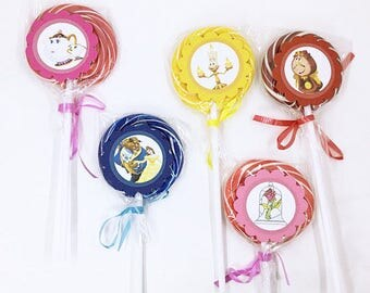 Belle from Beauty and the Beast | Lollipops Set of 10 , Dessert Table, Candy Favors, Swirl Lollipops, Fruity, Candy Bar