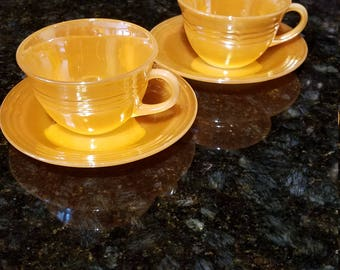 Peach Luster Fire king tea cups and saucers 4 PC SET
