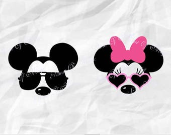 Disney SVG File, Mickey Mouse Sunglasses Svg, Minnie Mouse Svg, Mickey Glasses Svg, Disney Trip SVG, Cricut, Silhouette Disney Dxf