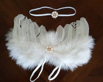 Feather Angel Wings Fairy Wings with matching Pearl Headband Newborn Toddler White