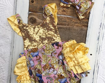 Beauty and the beast birthday outfit, girls beauty and the beast romper, birthday romper, disney inspired romper