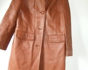 Tan leather 1960s coat sz 14/ vs 16