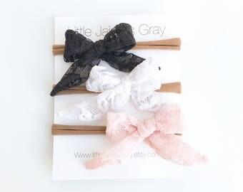 Mini lace sailor bow, little bow, lace, hair clip, nylon band headband