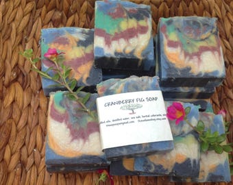 Artisan Cranberry Fig Soap with activated charcoal