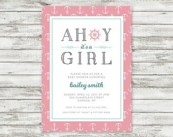 Nautical Baby Shower Invite - Anchor - Girl Personalized