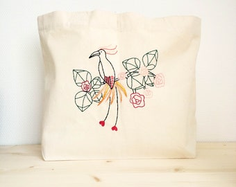 Tote bag embroidered Paradisier yellow thick cotton