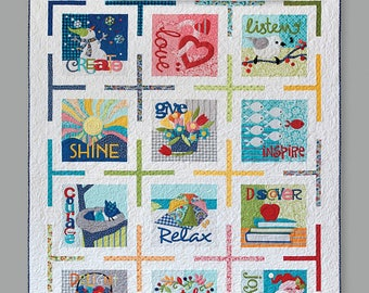 Imagine Quilt Book Block of the Month Patterns for 12 Mini Quilts or a 12 Block Quilt  by Nancy Halvorsen for Art to Heart #552B