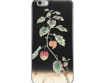 Japanese plant iPhone case for gardeners, Asian woodblock print design with botanical nature plant; great gardener's gift!