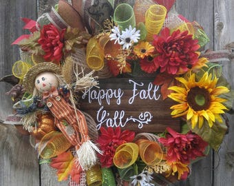 Fall mesh wreath, scarecrow mesh wreath, sunflower wreath, Autumn wreath, Happy Fall Y'all, scarecrow door hanger, fall wreath