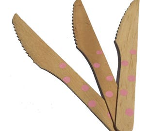 Set of 6 knives covered wooden polka dot pink