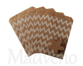 Set of 10 kraft white Chevron paper bags