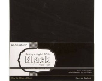 Core'dinations 80 lb 12x12 Textured Black Cardstock- Canvas Textured - Textured Card Stock - Acid Free Card Stock - Textured Canvas - 7-144