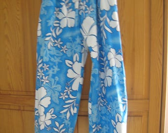 Summer pants blue cotton with Hibiscus flowers