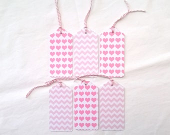 Six tags pink and white patterns