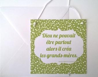 """Card Interior quote """"Grandma"""" color greenery"""