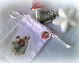Mini bag fabric Christmas image retro girl