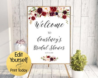 Bridal Shower Welcome Sign, Welcome Template, Editable Bridal Welcome, Marsala Welcome, Baby Shower Welcome, Burgundy Welcome, Marsala Sign