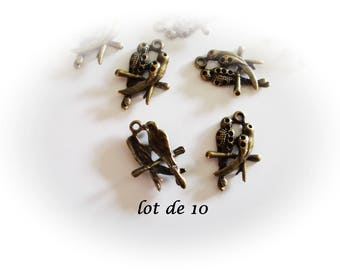 Set of 10 bronze parrots, charms bronze parrots