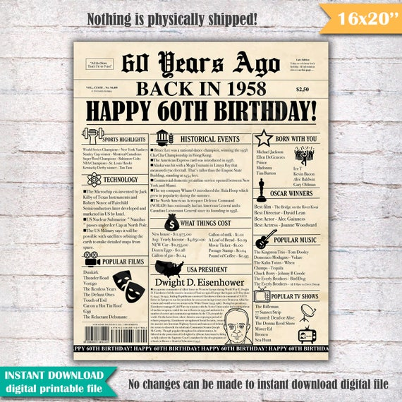 60th Birthday Newspaper Poster Sign 60 Years Ago Back In 1958