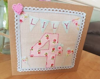 Personalised birthday card in applique fabric with bunting design. Any age, any name left blank inside for your own message.