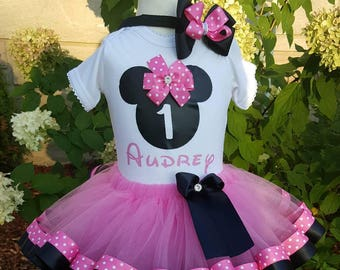 Pink Minnie Mouse Tutu Set - Minnie Mouse Theme Tutu Set - Minnie Ribbon Tutu - Minnie Mouse Birthday Outfit - Minnie Mouse Birthday Tutu